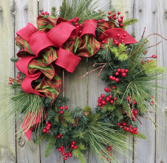Holiday / Christmas Wreath - Natual Winter Wreath with Berries and Plaid - Bright Red and Green Plaid
