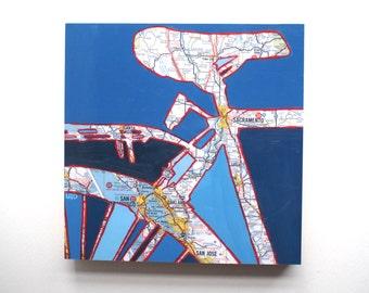 Sacramento mounted print - featuring, Sacramento, San Jose, Yuba City, Oakland, California  bicycle bike  art mounted to wood