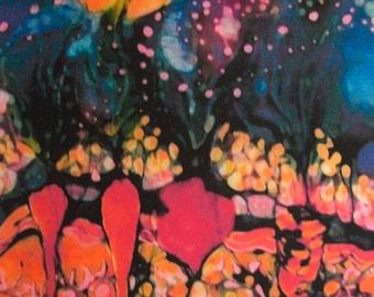 "Moonlight on Garden   16"" x 12""  art fabric from original batik - quilting"