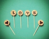 Wine Cork Cupcake Toppers / Custom Letters / Wedding Cupcake Toppers / Vineyard Theme / Wine Theme