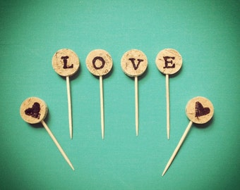 CUSTOM Wine Cork Cupcake Toppers . Wedding Cupcake Toppers . Party Supplies . Vineyard Theme . Wine Theme