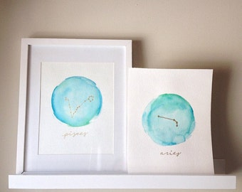 MADE-TO-ORDER Watercolor Zodiac Constellation Painting . 8x10 Zodiac Sign Artwork . Horoscope . Gold . Home Decor . Nursery Artwork