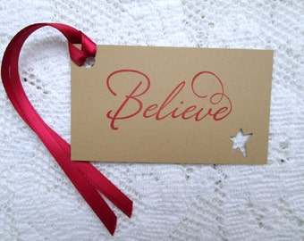 Believe Christmas Tags Recycled Kraft and Scarlet Ink (12)