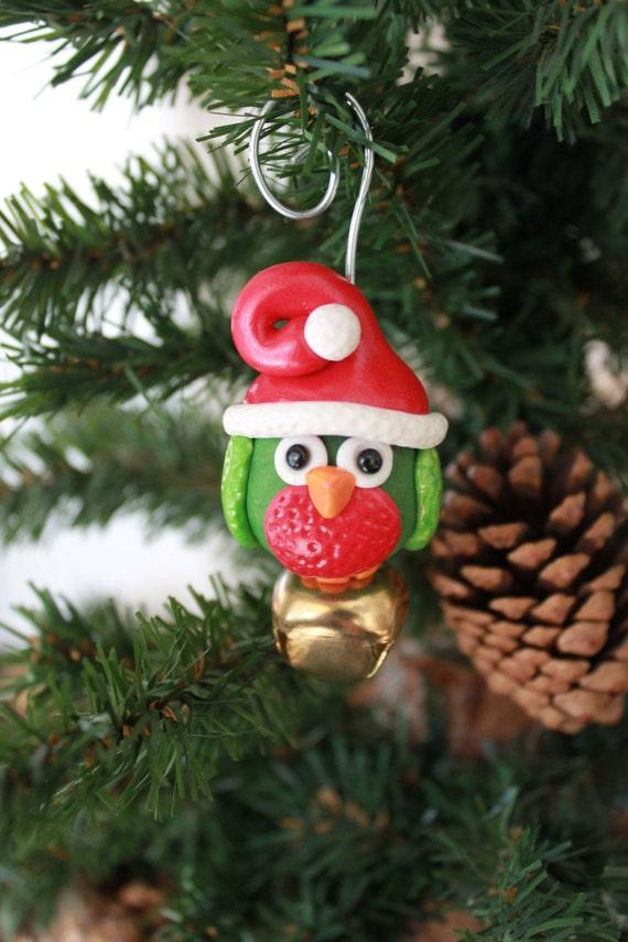 Christmas owl ornament polymer clay
