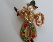 Vintage Jeweled Cowboy Moveable Brooch pin Rhinestone Cowboy