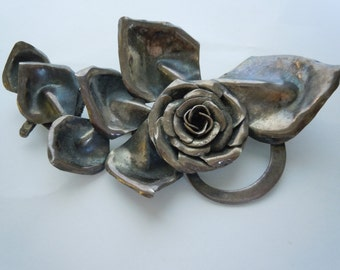 Fabulous Vintage Sterling Flower Brooch Pin Pendant Large Statement Piece Hand Made Signed S. Zilka Israel