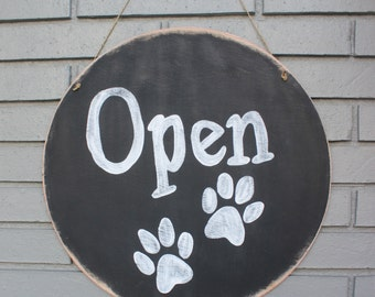 "Round Wooden Chalkboard for Pet Shop or Groomer, Open/Closed Sign, 18""d - Hanging, Distressed, 2 sided"