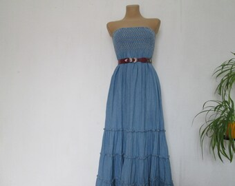 Long Jeans Dress Vintage / Hippie / Boho / Full / Size EUR 34 / 36 / UK6 / 8 / Elastic Top