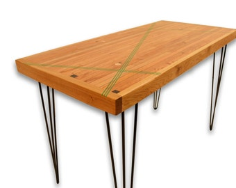 Kitchen Table Green Resin Inlay - Reclaimed Boxcar Oak