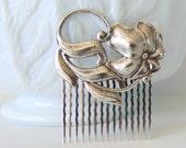 Art Nouveau Hair Comb, Scrolling Flowers, Floral Hair Comb, Silver Ox Brass, Silver Hair Comb, Silver Flower, Art Deco Hair Comb BOTANICA