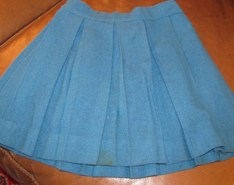 Dark teal pleated wool little girls skirt 16 inch waist.  Tag says MILLBROOK. no size tag.