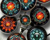 "Sci-Fi Mandala - Digital Collage Sheets CG-869 - 1.5"", 1.25"", 30mm, 1"" & 25mm circles - craft supplies, jewelry making, digital downloads"