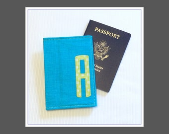 Monogrammed Passport Cover - Turquoise Chartreuse - Destination Wedding Gift - Bridesmaid Maid of Honor Favor - Travel Accessories - Cruise