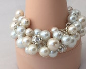 Chunky pearl bracelet in Ivory and white pearls with rhinestones and clear crystals