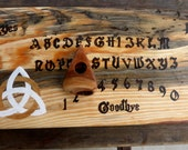 Ouija Board Triquetra White Gold Pagan Paranormal Spirit Game Wiccan Blue Pine Wood Wooden