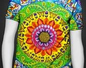 Samsara Mandala Shirt (Psychedelic Trippy Spiritual Rainbow Radial Pattern with Sacred Geometry Flower of Life, Hippy Boho Fashion Ravewear)