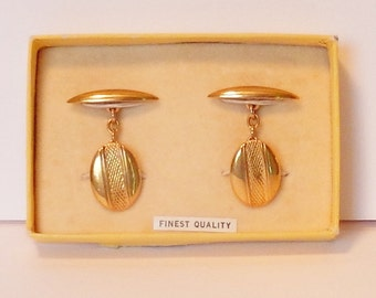 Vintage cuff links with gold chains in Gold tone, Made in England, Men's jewelry, Business attire