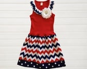 Girls Patriotic Dress Chevron Americana Dresses Baby Toddlers USA Memorial Day Fourth of July Outfit 12 18 24 Months Girls 2 3 4 5 6 8