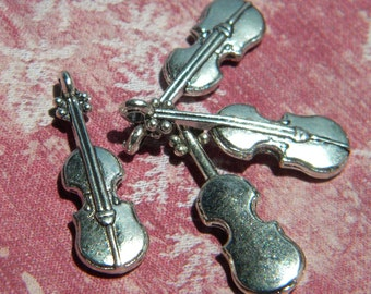 Mini VIOLIN Charm Earrings MUSIC Teacher Concert Musician SHERLOCK  Pierced Earrings or Loose Charms