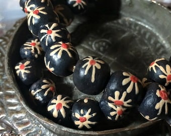 African Beads - Powder Glass Trade beads Hand Painted (8)