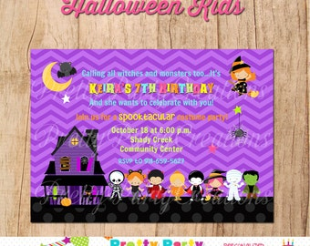 HALLOWEEN KIDS invitation - halloween party or birthday - YOU Print