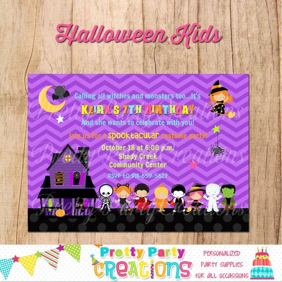 HALLOWEEN KIDS invitation - halloween party or birthday - YOU Print