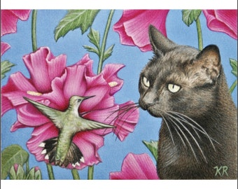 ACEO black cat humming bird flowers animal limited 25 edition miniature art print signed by artist Karen Romine free shipping KR