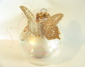 Christmas Gold Butterfly Hand Painted Glitter Ornament