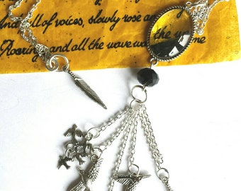 SALE was 18 now 14 - Kate Bush Inspired - BTD Silver tone Charm Confetti Collection Necklace tassel of chain and birds