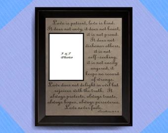 1 Corinthians 13: 4-8, Love is patient, Love is Kind, Love Never Fails, Bible Verse, Wall Art, Scripture Quote, Wedding Picture Frame