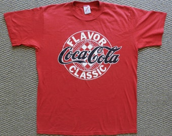 vintage Coca Cola Classic T Shirt Red 50/50 80s Coke Large soft tee USA Jerzees