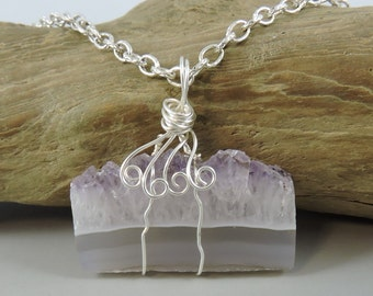 Wire Wrapped Amethyst Necklace, Amethyst Cluster, Amethyst Jewelry, Rough Gemstone Necklace