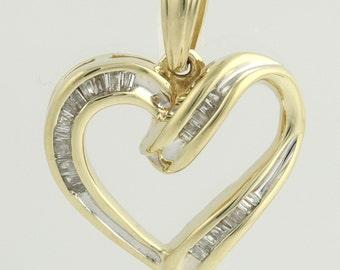 Diamond Heart Pendant - 10k Yellow Gold Natural .12ctw Love Open f3850