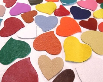 Leather Hearts(50Pcs)Genuine Leather.Craft Supplies /For Accessories,Applique,Decorations,Jewelry,Bags... Mixture or a single colors