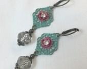 Pink Rose Verdigris Filigree Earrings with Crystals