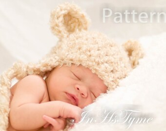 PDF CROCHET PATTERN Fuzzy Bear Earflap Beanie Newborn 0-3 and 3-6 Months Instant Download