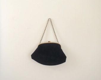 Vintage 1950's Ingber black felt handbag / mid century evening bag with gold metal chain and closure / black purse
