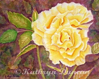 Yellow Roses Original Watercolor Painting matted to 12x16 yellow purple violet mauve