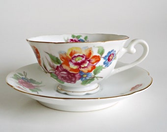 Occupied Japan TeaCup and Saucer  By Diamond Tea Cup  Bone China Teacup and Saucer  Floral
