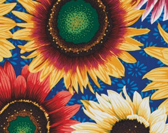Botanical Sunflowers in Blue by Snow Leopard Designs