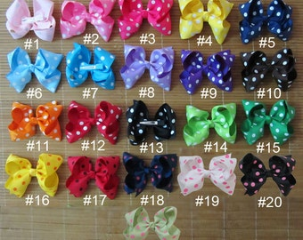 Set of 21 pcs 4 inch infant hair bows girls hair bow boutique hair bows, tollder infant hairbows 21 dots colors to choose, you pick colors