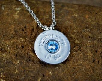 Shotgun Shell Jewelry Casing Aquamarine Swarovski Gem Pendant Necklace