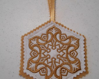 Polish Christmas Ornament, Wycinanki Ornament, Embroidered Gold Ornament, Felt Christmas Decoration, Handmade Ornament,  Made to Order