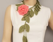 Crochet leaves  jewelry scarf ,crochet  flower necklace,with  removable flower brooch,