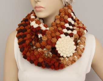 crochet infinity scarf  ,crochet cowl loop scarf , with removable flower brooch
