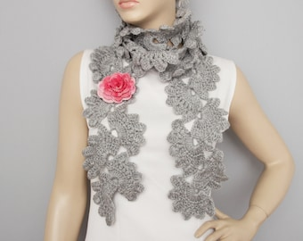 Crochet scarf, long crochet  scarf, woman scarf, gift,with removable flower pin,grey