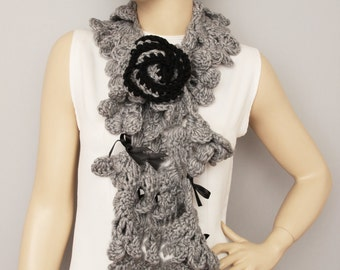 Grey crochet scarf,long crochet ruffle  scarf, woman scarf, gift,