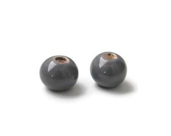 Grey Glazed Ceramic Beads, 12mm, Pearlized Round Ceramic Beads, greek ceramic beads 12mm C 10 384