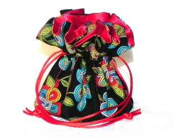 Drawstring Jewelry Bag Pouch - Red, black, blue, green and yellow floral travel bag