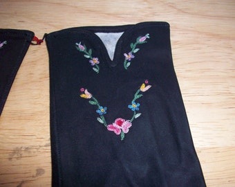 Vintage wrist length black suede gloves with embroidered flowers made in France